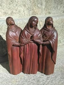 HODNĚ STARÁ MISTROVSKÁ DŘEVOŘEZBA 3 modlící se ženy  TOP KUS !!!