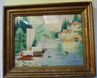Starý obraz - Jadran - akvarel - sign. Kříž 1943