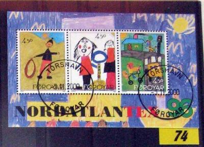 Faerské ostrovy 1996 hezký aršík Nordatlantex UMĚNÍ kresby dětí / R74