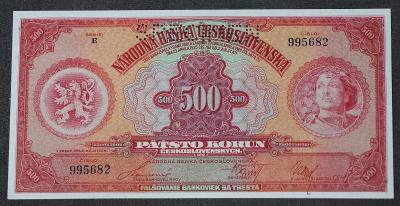 500 Kčs 1929 - série E - UNC - perforovaná