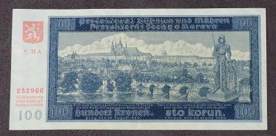 100 K Protektorát 1940 - 31A perforovaná - II. vydání