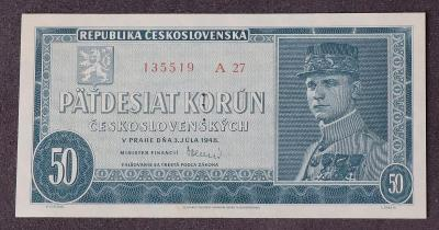 50 Kčs 1948 - A27 - perforovaná - UNC