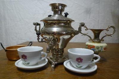 Samovar pro děti a porcelán na čaj... nádobíčko pro panenky