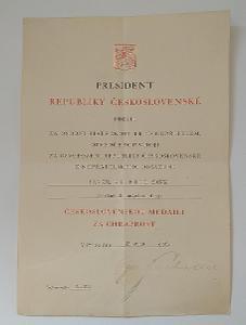 dokument dekret autogram president SVOBODA medaile za osob. statečnost