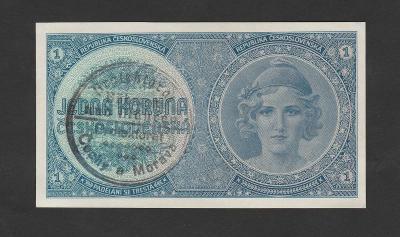 💎1 koruna 1938 vysoká s. A079 NEPERFOR * ruční přetisk * stav 0/UNC💎