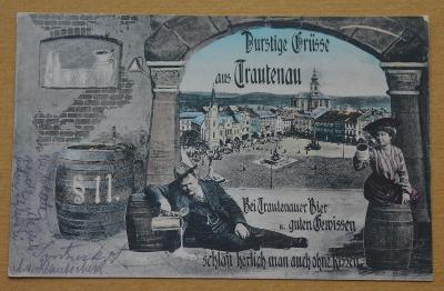 TRUTNOV - Trautenau - pijácká koláž - sud - náměstí - kolorovaná