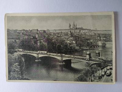 Pohlednice Praha Pražský hrad Hradčany Most Tramvaj Automobily 1936 MF