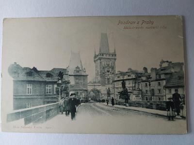 Pohlednice Dopisnice Praha Karlův most Malá Strana Oživená ČISTÁ MF