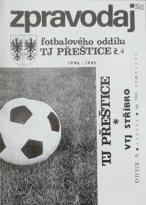 fotbalový program TJ Přeštice - VTJ Stříbro (1994)