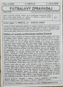 fotbalový program TJ Přeštice - Spartak Chrást (2008)