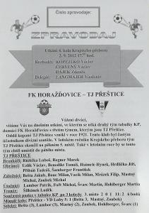 fotbalový program FK Horažďovice - TJ Přeštice (2012)