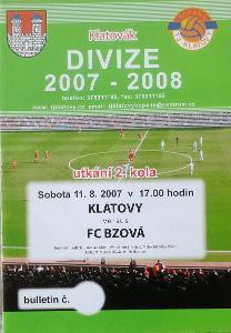 fotbalový program TJ Klatovy - FC Bzová (2007)