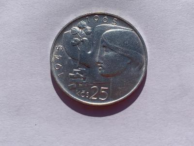 Stříbrná mince 25 Kčs Osvobození Československa 20. výročí 1965