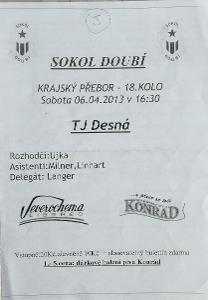 fotbalový program Sokol Doubí - TJ Desná (2013)