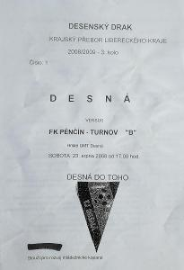 """fotbalový program TJ Desná - FK Pěnčín-Turnov """"B"""" (2008)"""