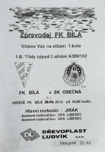 fotbalový program FK Bílá - SK Osečná (2014)