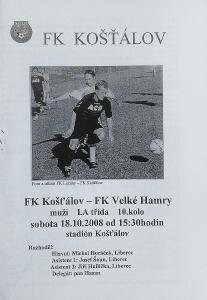 fotbalový program FK Košťálov - FK Velké Hamry (2008)