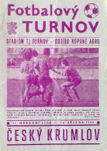 fotbalový program TJ Turnov - Slavoj Český Krumlov (1986)