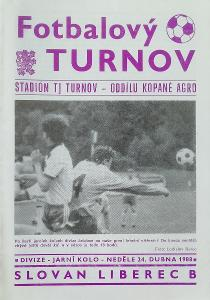 "fotbalový program TJ Turnov - Slovan Liberec ""B"" (1988)"