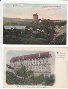 Plumlov Prostějov zámek 1908 cca 1942 3ks