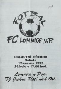 fotbalový program FC Lomnice n.P. - Jiskra Ústí n.O. (1993)