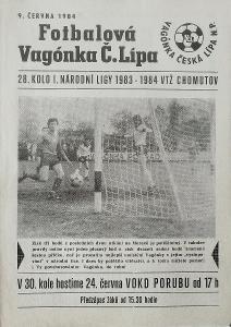 fotbalový program Vagónka Česká Lípa - VTŽ Chomutov (1984)