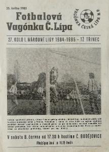 fotbalový program Vagónka Česká Lípa - TŽ Třinec (1985)