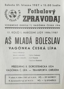 fotbalový program Vagónka Česká Lípa - AŠ Mladá Boleslav (1987)