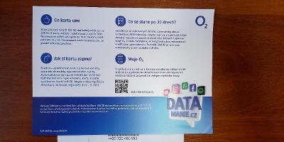 SIM karta 02 z letní akce Datamanie 100GB za 300,-Kč