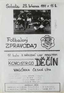 fotbalový program Vagónka Česká Lípa - Kovostroj Děčín (1991)