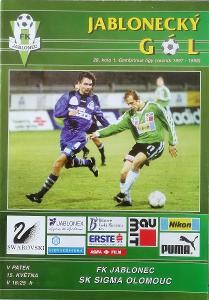 fotbalový program FK Jablonec - Sigma Olomouc (1998)
