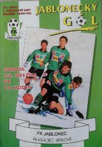 fotbalový program FK Jablonec - FK Hradec Králové (1996)