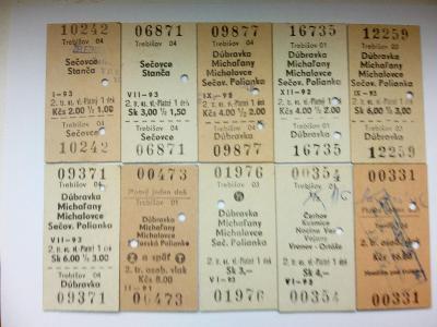 vlakové, kartonové jízdenky, 10ks
