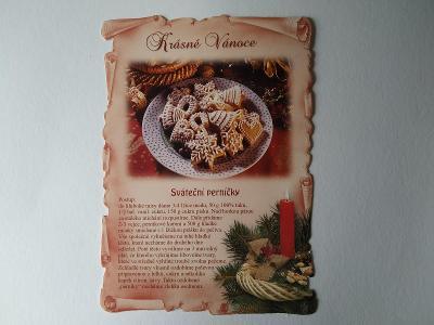 Pohlednice Recept Sváteční perníčky Cukroví Vánoce Vánoční