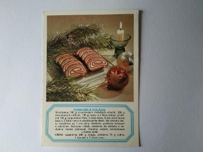 Pohlednice Recept Černobílá roláda Cukroví Vánoce Vánoční