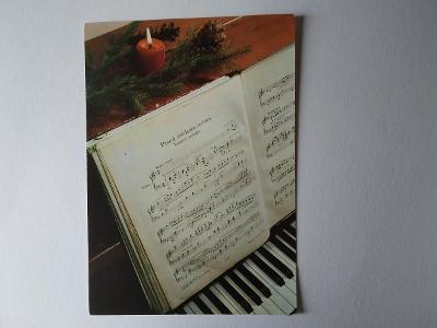 Pohlednice Noty Písnička Píseň Koleda Klavír Svíčka Vánoce Vánoční