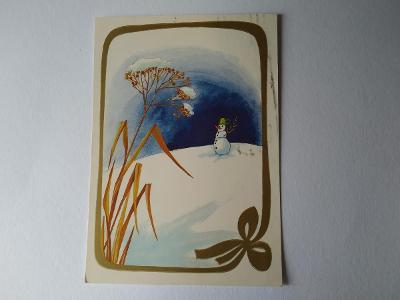 Pohlednice E. Plicková Sněhulák Zima Vánoce Vánoční
