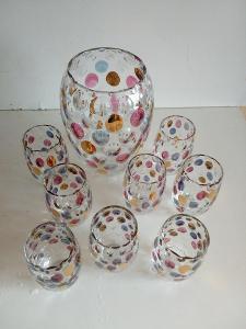 Sada vázy a skleniček 8 kusů