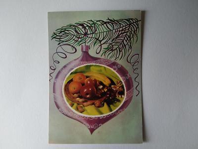 Pohlednice E. Plicková Ozdoba Ovoce Ořechy Vánoce Vánoční