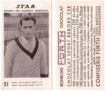 Kartička STAR č.51 - tenista Hecht člen Daviscupového týmu ČSR
