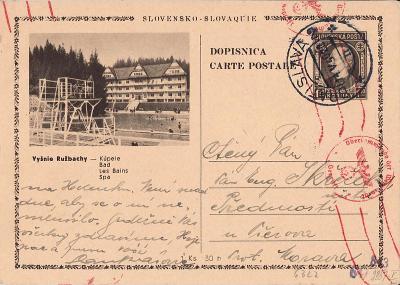 Dopisnice - Slovenský štát zaslaná do B u M.