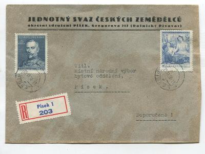 R dopis PÍSEK 1 - fir. obálka JEDNOTNÝ SVAZ Č. ZEMĚDĚLCŮ r. 1948