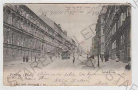 Praha 2, Ječná ulice, tramvaj, pohled ulicí, DA