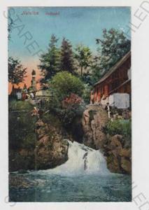 Netolice (Prachatice), vodopád, řeka, kolorovaná