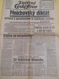 České slovo - MNICHOVSKÝ DIKTÁT ( 1.10. 1938 ) .