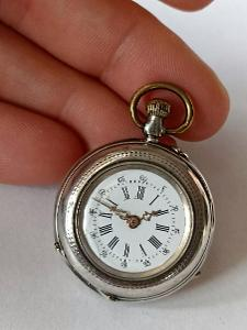 Starožitné dámské celostříbrné kapesní hodinky