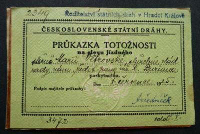 ČSD - Průkazka na SLEVU jízdného - r. 1925 !!! Služebná vládního rady
