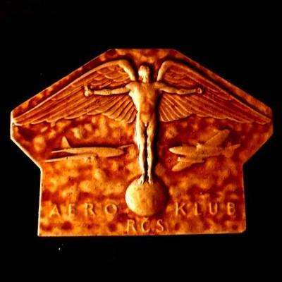 Letecká těžká a velká bronzová Medaile Aero Klub ČSR 130x90x6 mm