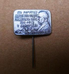 KLADENÍ ZÁKL. KAMENE MASARYKOVA DOMU v JAROMĚŘI 1924 !!! hliník