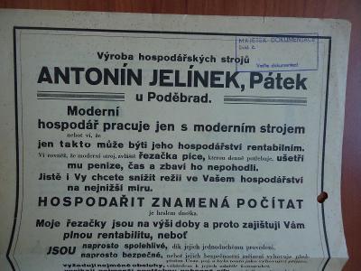 Pátek u Poděbrad-Antonín Jelínek - výroba hosp.strojů